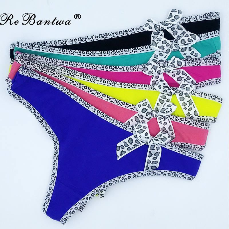 Buy Sexy g-strings Cotton Bikini Leopard T Back Panties Thongs Women Underwear Lingerie G string Ladies Tangas T Back Pants
