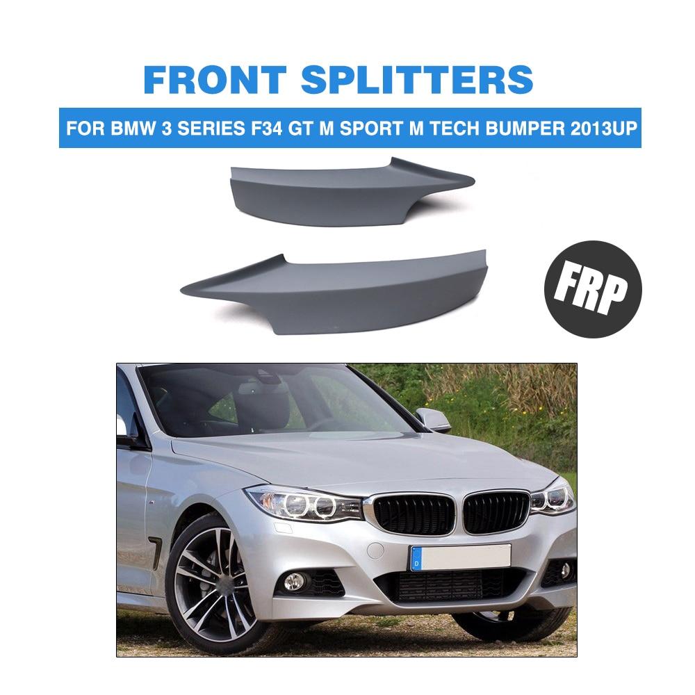 Car Front Bumper Lip splitter for BMW 3 series F34 GT M sport M Tech bumper 2013UP FRP Unpainted Grey Primer P Style carbon fiber front bumper lip splitter spoiler for bmw 3 series gt f34 m sport bumper 4 door 14 17 grey frp 2pc 335i 340i gt
