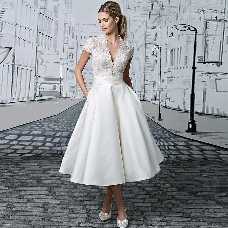 Vestido De Novia V-neck  Short Wedding Dress Robe De Mariage Appliques Lace Tea-length Illusion Bridal Gown Wedding Short Drsess