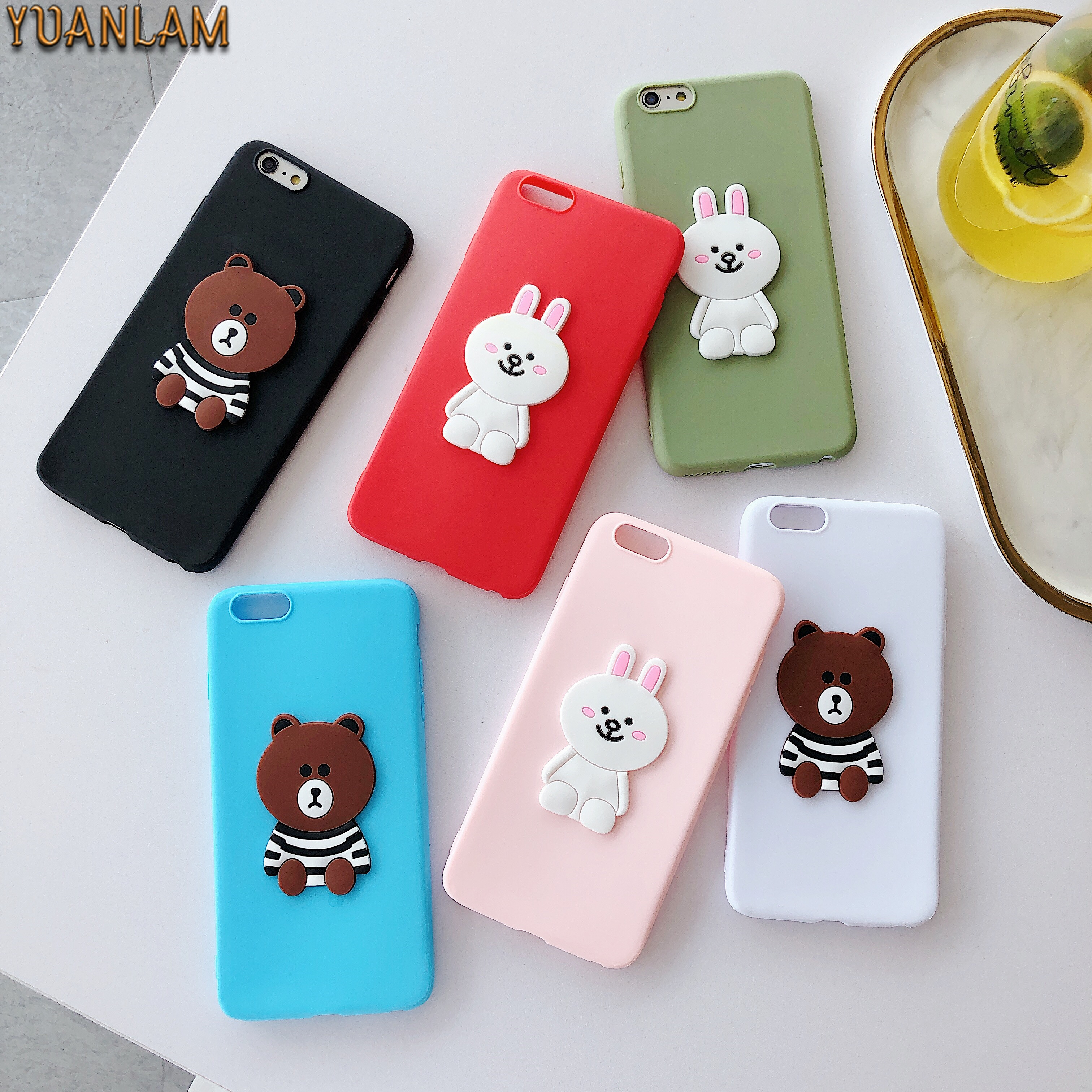 Cute cartoon brown bear Bunny rabbit shockproof soft TPU silicone back cover for iphone 6 6s 7 8 plus X Xs Max XR phone cases