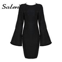 Salen Fashion Full Flare Sleeve Sexy Lace Up Mini O Neck Lady Casual Dress Autumn Women