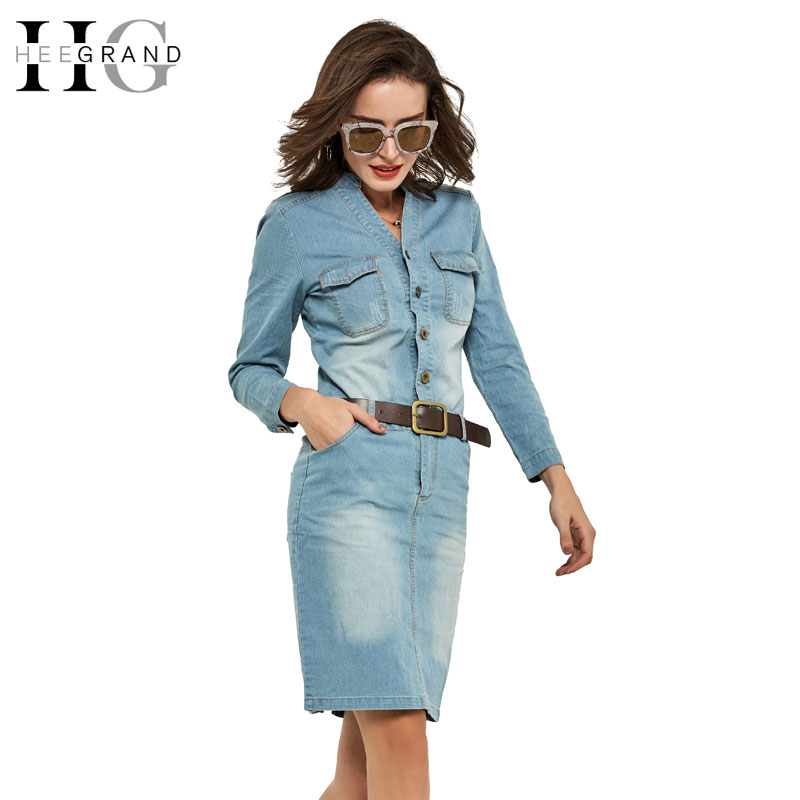 HEE GRAND 2018 Spring Summer Straight Dresses Denim Casual Slim Full Sleeve Solid V-Neck ...