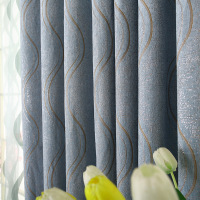 Cheap Price European Style Curtains Luxury Striped Chenille Curtains for Living Room Bedroom