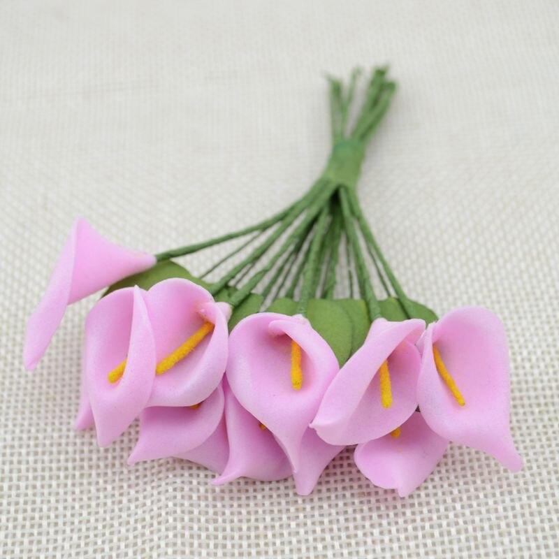 12 шт. мини пена Калла ручной работы искусственный цветок свадебное оформление букета DIY ВЕНОК Подарочная коробка Скрапбукинг Ремесло поддельные цветы - Цвет: dark pink