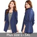 5XL mulheres lapela casaco Outerwearl casaco Blazer casaco fino casaco Cardigan cinto feminino
