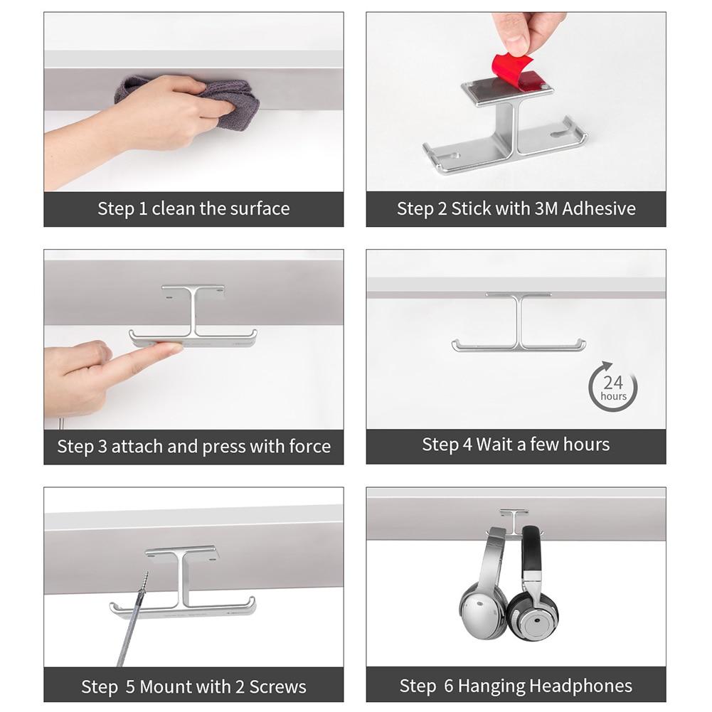 Headphone Stand Dual Headset Holder Hanger Punch Free Under Desk Aluminum Alloy QF66