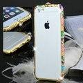 Luxo metal bumper quadro para iphone 6 checa cristal coroa fivela brilhando estilo nacional caso rhinestone para o iphone 6 plus caso