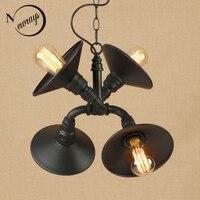 Vintage iron painted matte black pendant lamp LED 4 lamp Pendant Light Fixture E27 220V For Kitchen bedroom restaurant hallway