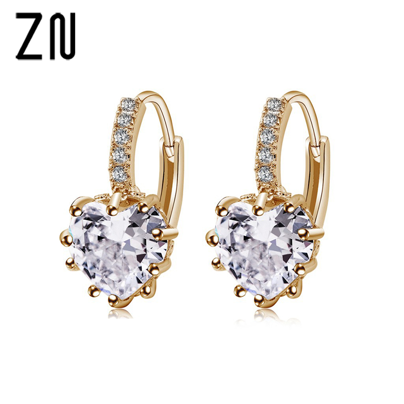 ZN Earings Fashion Jewelry Luxury Colorful Heart Band Real Pure Jewelry Cubic Zirconia Stone Earrings Fashion Women Favourites