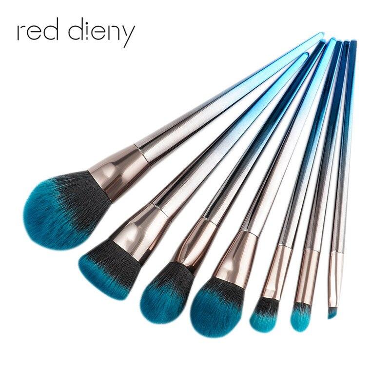 Blue sliver Professional Makeup Brushes Set Foundation Powder Blush Eye Shadow Mermaid Rainbow Brush Cosmetic Beauty Tools Kit