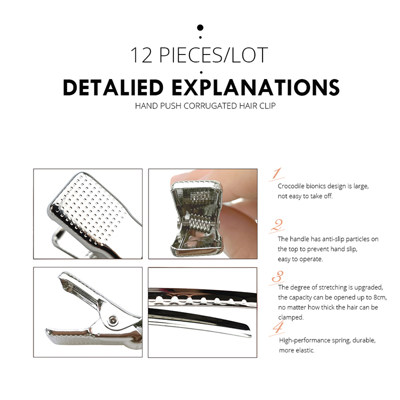 6/12Pcs Stainless Steel Duckbill Hair Clips For Girls Professional Salon Section Metal Hairpins Women Girls Hair Styling Tools