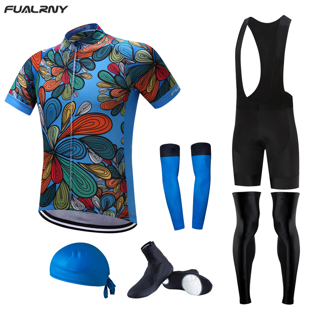 FUALRNY 2017 Cycling Team Clothes Men's Cycle Bike Short Sleeve Jersey Bib Shorts Sets with cap arm warmer leg warmer 6pcs set mr4010 to 220f