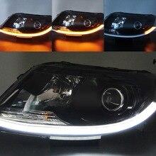 2 шт. 45 см 60 см поток DRL сигнал поворота светодиодный светильник DRL светодиодная лента светильник гибкий головной светильник полосы янтарные ходовые огни