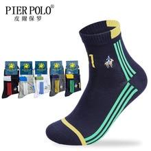 PIER POLO Mens Brand Socks Autumn Winter warm Cotton Tube Men Embroidery Cross Stripe Fun Gifts Quality Happy