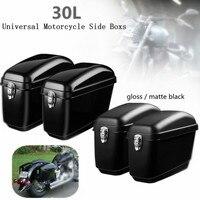 Pair 30L Universal Motorcycle Luggage Tank Tail Bag Side Boxs Hard Case Saddle Bags For Harley Cruisers For Kawasaki/Honda