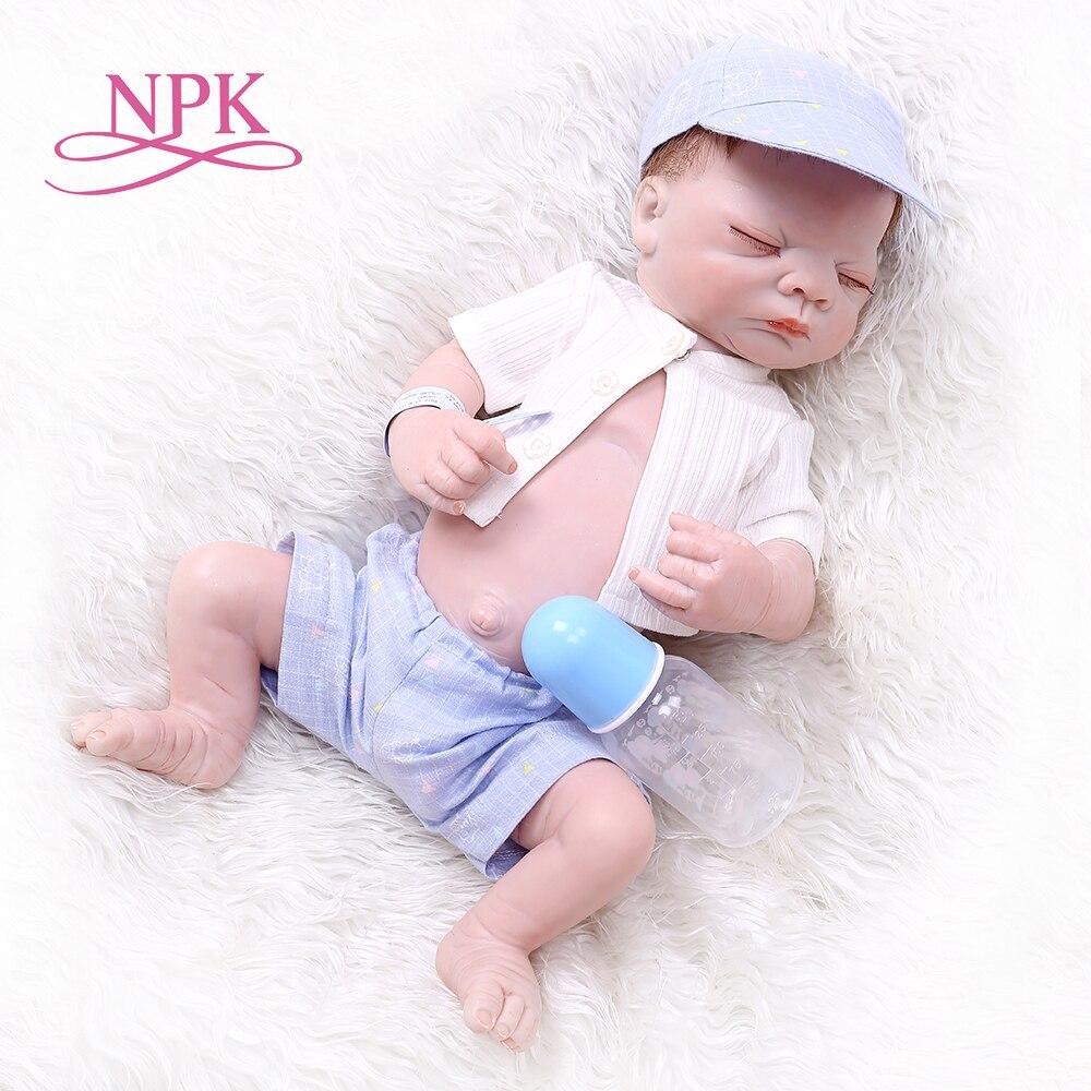 NPK 52CM bebe doll reborn newborn baby full body silicone newborn sleeping baby boy bath toy