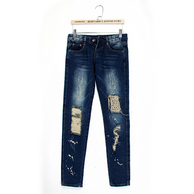 Female leopard print wearing white retro finishing hole butt-lifting pencil jeans roll up hem applique 5239