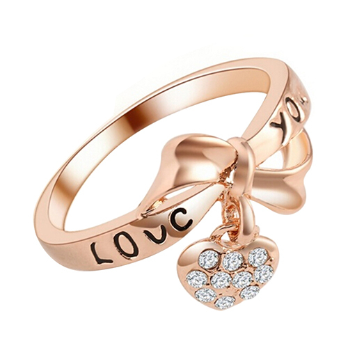 King's Jewelry  Women's Romantic Love Bow-Knot Rose  Heart  Rhinestone Wedding Party Ring 7SEX