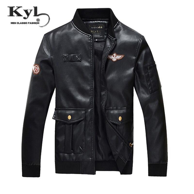 2017 New Arrival Brand Men PU leather Jacket Vintage Military Style Jacket Eagle Embroidery Bomber Jacket Men Flight Jacket