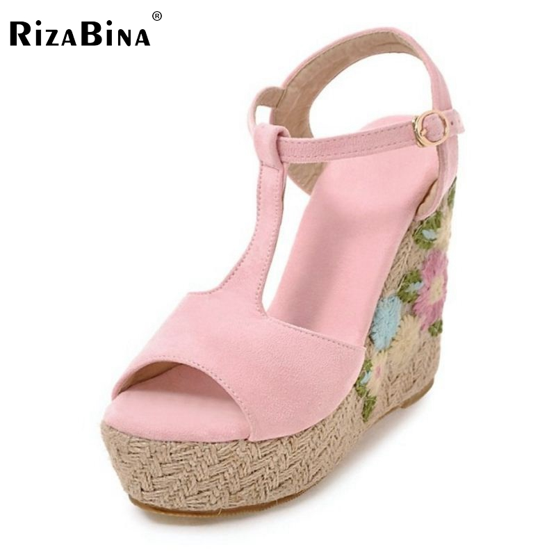 RizaBina Sexy Women High Wedges Sandals Platform T Strap Platform High Wedges Sandals Summer Shoes Women Footwears Size 34-39 phyanic 2017 gladiator sandals gold silver shoes woman summer platform wedges glitters creepers casual women shoes phy3323