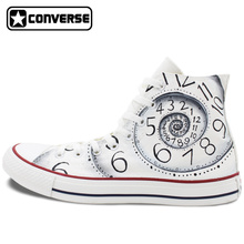 Unique Sneakers Custom Design Clock Converse All Star Hand Painted Shoes High Top White Canvas Shoes Personalized Gifts Men Wome