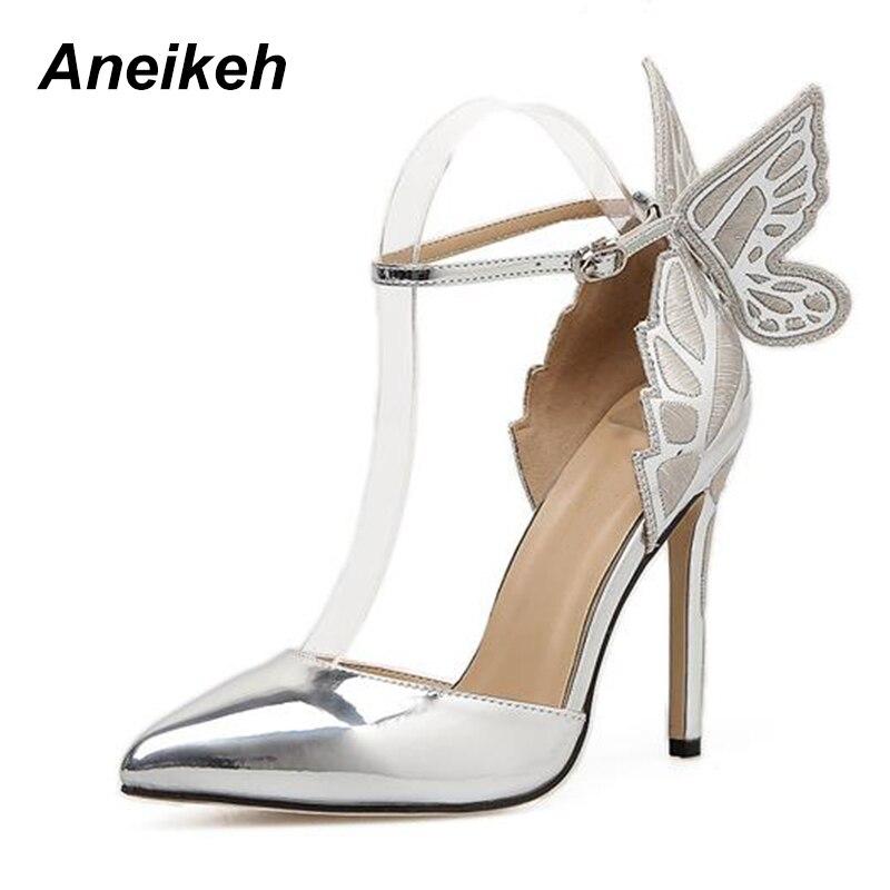 AIYKAZYSDL Women Sandals 3D Butterfly Wing Embroidery Sandals High Heel  Shoes Woman Pumps Metallic Stiletto Wedding Party Dress 89165e60fa86