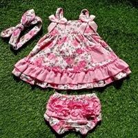 2018 nova chegada do bebê verão vestido da menina do bebê topos de swing balanço vestido rosa flor balanço bloomer outfits com correspondência ruffed conjunto