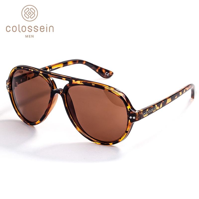 COLOSSEIN Solglasögon Män Polariserad Retro Kvinnlig Klassisk Mode Ljus Pilot Kvinnor Vintage Körning Oval Brun UV400 Gafas De Sol