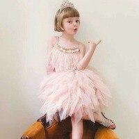 Girl Dresses Feathers Ball Gown Tutu Straps Sleeveless Party Dress Ballet Prom Flower Girls Dresses Kid Clothing