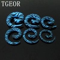горячих оптом шарма способа 120 шт. смешанные 6 датчиков зебра печати черный и синий водоворот уф акриловый ухо конус