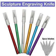 Нескользящий металлический нож для скальпеля набор инструментов для резки гравюра ножи+ 5 шт. лезвия мобильный телефон PCB DIY ремонт ручные инструменты