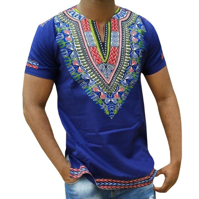 abdb61bc1a Mens African Dashiki Tops T Shirt Printed Male Traditional Clothing For Men  Cotton Summer Blue V