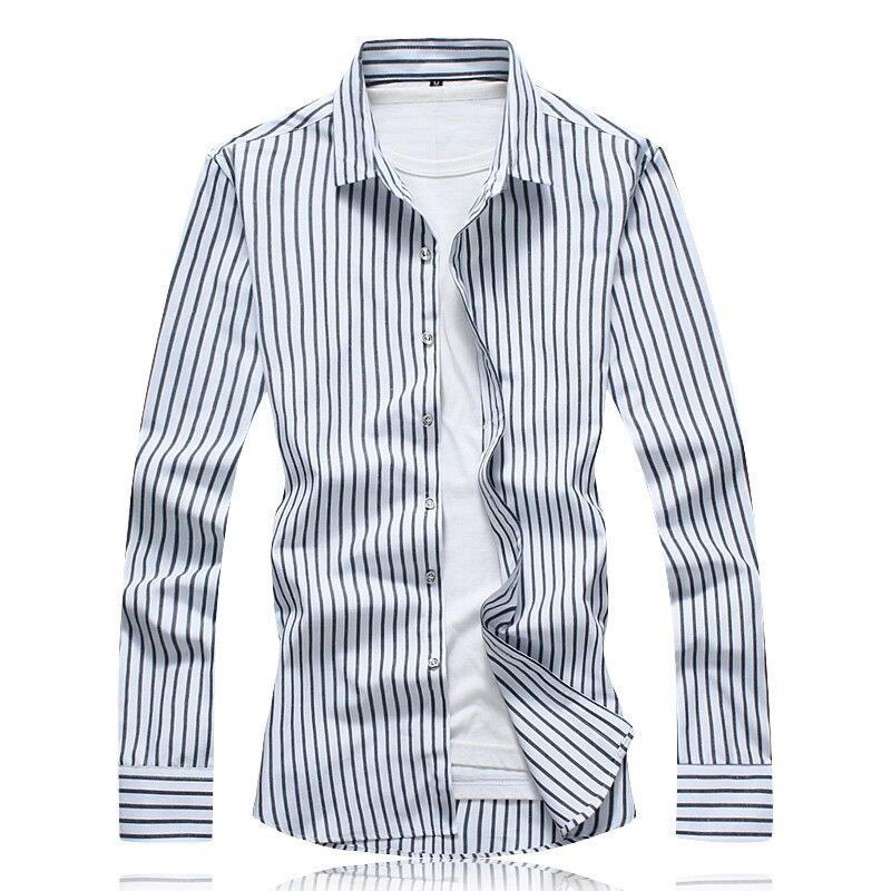 New Autumn Fashion Brand Mens Cotton Shirts 2018 Casual Classic Design Striped Long Sleeve Shirt Mens Clothing Work Shirts 7XL