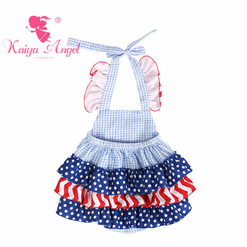 e2a236b06f2 ... Kaiya Angel 4th Of July Dark Blue White Gingham Bubble Cloth Rompers Baby  Boy Girl Royal ...