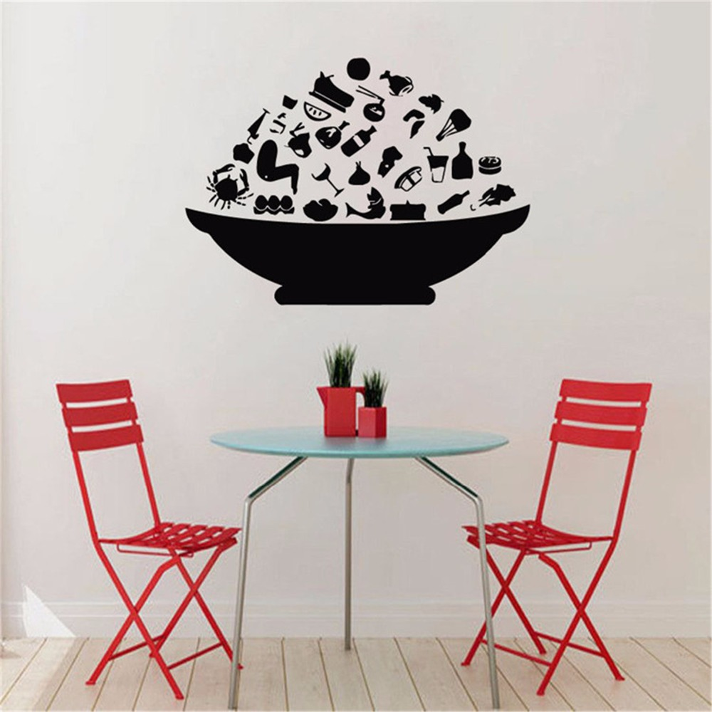 Fashion Bowl With Food Wall Stickers Kitchen Wall Decor Dining Room Wallpapers Creative Self Adhesive Wallpaper Kitchen Sticker