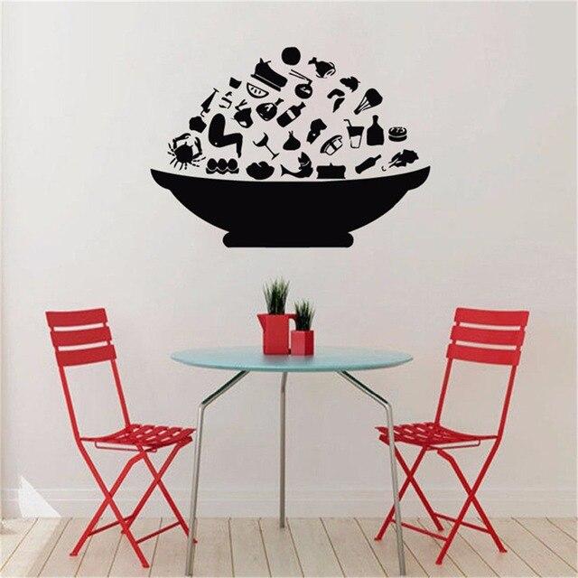 US $9.83 18% OFF|Mode Schüssel Mit Lebensmitteln Wandaufkleber Küche Wand  dekor Esszimmer Tapeten Kreative Selbstklebende Tapete Küche Aufkleber in  ...