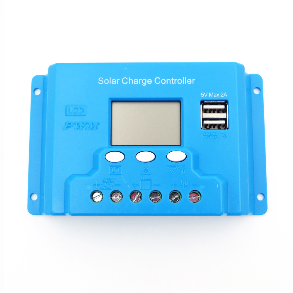 debd3dce17eacb 1 pc x système 30A 12 V 24 V intelligence solaire Régulateurs Contrôleur de  Charge de La Batterie Panneau LCD 5 V USB tension réglable