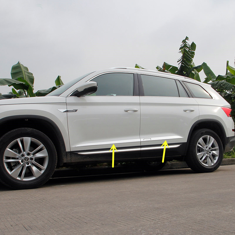 For Skoda Kodiaq 2017 - 2018 Stainless Steel Exterior Door Body Molding Cover Decoration Trim 4pcs Car Styling accessories! for jeep cherokee 2014 2016 stainless steel auto side door body molding line trim streamer exterior car styling accessories 4pcs