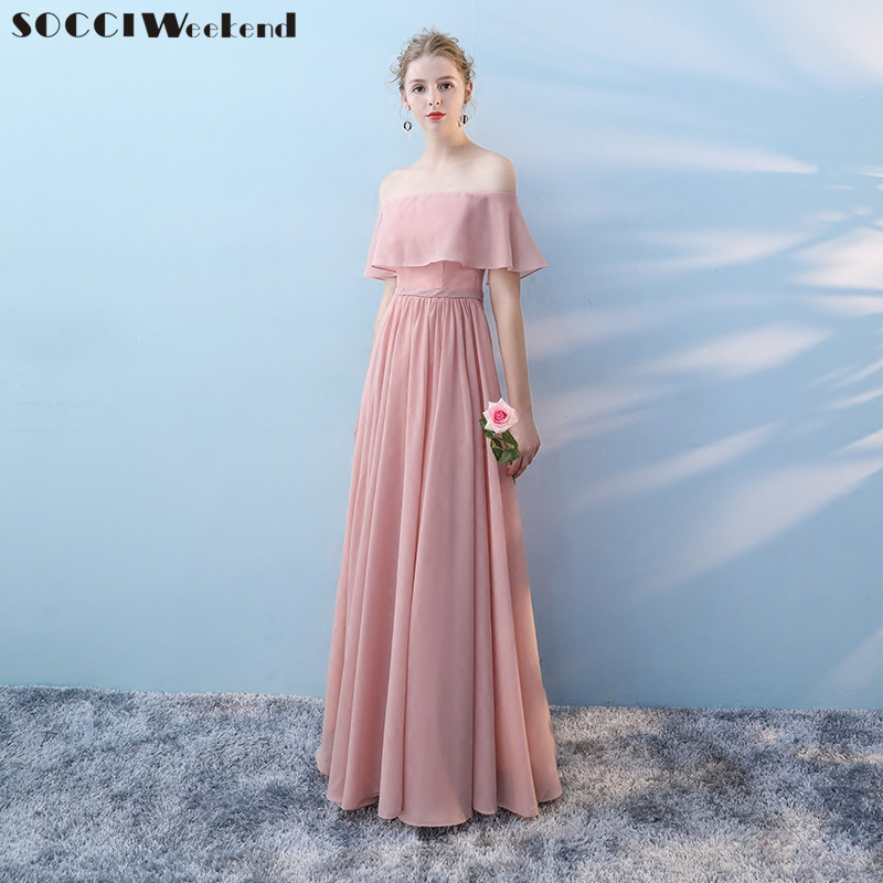 SOCCI Weekend Long Bridesmaid Dresses 2017 Pink Sleeveless Sister Dress Elegant Off shoulder Formal Wedding Party Gowns Robe de