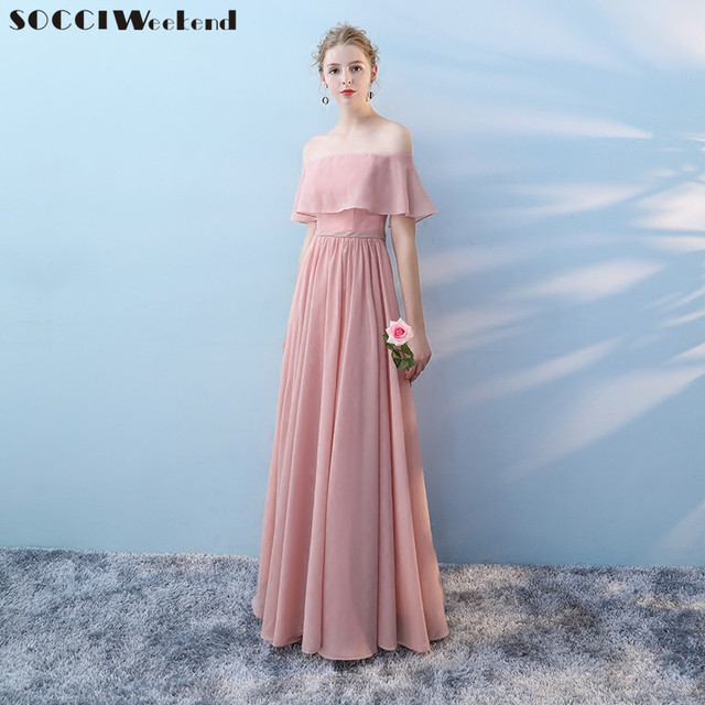Socci Weekend Long Bridesmaid Dresses 2018 Pink Sleeveless Sister Dress Elegant Off Shoulder Formal Wedding Party