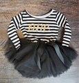 2017 Outono Roupa Do Bebê da Listra Bonito Arco Ocasional Menina vestido Para A Primeira Festa de Aniversário Da Menina Da Criança Roupas Para O Bebê criança