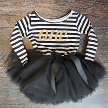 2018 Autumn Baby Clothing Stripe Cute Bow Casual Little Girl Dress For First Birthday Party Toddler Girl Clothes For Baby Child