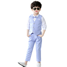 2019 Kids Boys Formal Suit Wedding Campus Student Dress Gentleman Boy Waistcoat Shirt Pant  3Pcs Ceremony Costumes 3-10T brand wedding suit for flower boys campus student formal dress gentleman kids blazer shirt pant bowtie 4pcs ceremony costumes