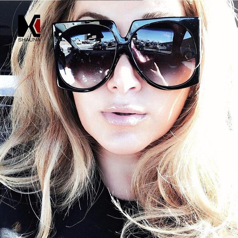 SHAUNA Oversize Women Square Sunglasses Fashion Ladies Double Colors Frame Gradient Lens Shades UV400