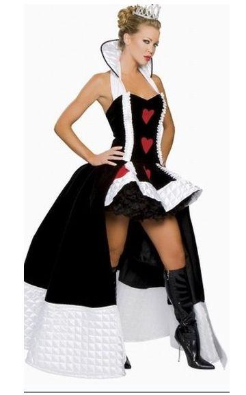 Nouveau Costume de haute qualité Sexy reine des cœurs Costume Cosplay de luxe avec couronne et jupon robe de fête d'halloween