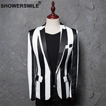 SHOWERSMILE Singers Suit Jacker Black White Striped Blazer Men Single Button Slim Fit Party Blazers Blazer Plus Size 4XL 5XL black single button blazer with irregular hem