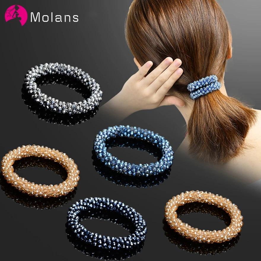 Женские резинки для волос Molans Scrunchies, однотонные Резиночки с бусинами, эластичные резинки для волос, блестящие серебряные бусины