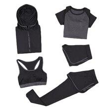 5pcs Women Sportswear Sets coats+t shirt+bra+shorts+pants Breathable Fitness Gym Clothing Womens Outdoor Set 8036