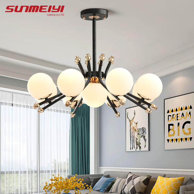 Modern Iron LED Chandeliers lustre para sala Glass Shade Chandelier Ceiling For Living room bedroom Dining room Home decor Modern Iron LED Chandeliers lustre para sala Glass Shade Chandelier Ceiling For Living room bedroom Dining room Home decor