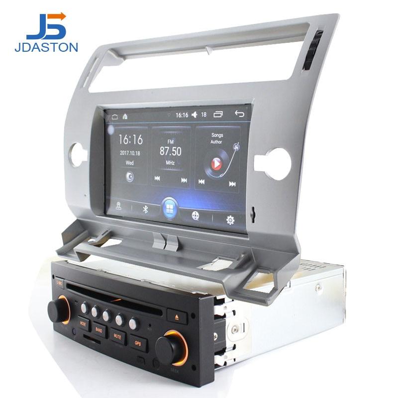 JDASTON 1 Din Android 6.0 Voiture Lecteur DVD GPS Navigation Pour Citroen C4 Quatre Triomphe 2004-2012 Multimédia de voiture radio WIFI Audio